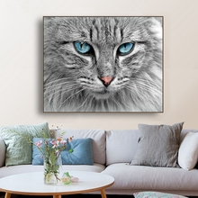Cat Blue Eyes Animals Natural Wall Art Canvas Painting Calligraphy Poster Print Decorative Picture for Living Room Home Decor