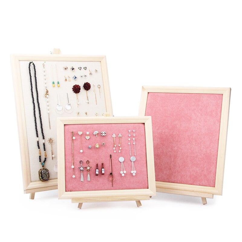 Vente en gros rose velours/Beige lin avec bois Fram forme pour bijoux stockage collier boucle d'oreille présentoir
