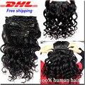 7A Peruvian Loose Curly Wave Clip In Human Hair Extensions 9 Pcs 120g Loose Wave Clip In Hair Extensions Human Hair Clip Ins