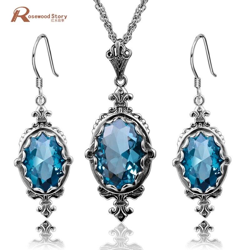 Ensemble de Bijouterie africaine strass bleu réel 925 argent Sterling Dubai indien boucles d'oreilles de mariée pendentif bijoux ensembles cadeau femme
