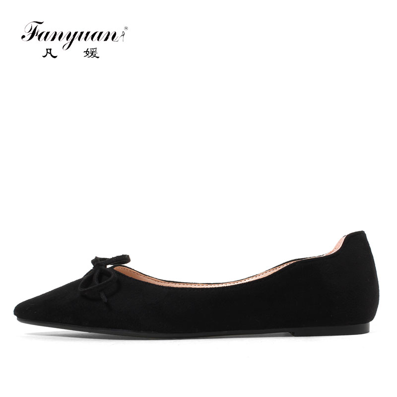 Fanyuan 2018 New Plus size women's Flat casual shoes sweet Butterfly-knot concise Solid Slip-on Pointed toe ladies Boat Flats fanyuan casual women ladies flat candy 6 color patent leather flat shoes women pointed toe flat free shipping plus size 30 49