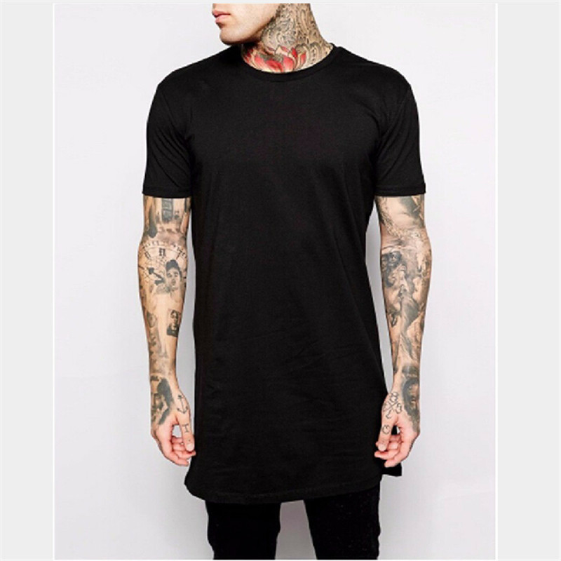 2016 Brand New Clothing Mens Black Long t shirt Men Tops Hip hop tee T-shirt Men Hiphop Short Sleeve Longline casual Tee shirts