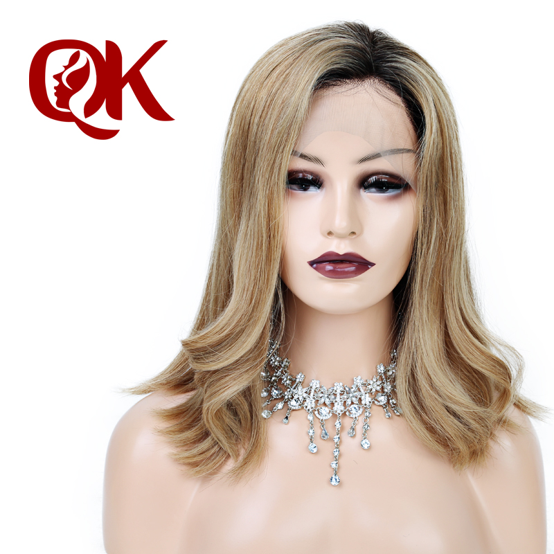 QueenKing hair Lace Front Wig 250% density 1B 27 OMBRE Bob Wig Silky Straight Free Part Preplucked Brazilian Human Remy Hair