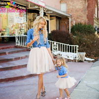 Mother Daughter Dresses 2017 Family Matching Outfits Mother And Daughter Clothes Fashion Long Sleeved Denim Shirt