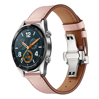 22mm Genuine Leather Strap For Huawei GT Honor Magic Women's Fashion Elegant Bracelet Wrist Strap Butterfly Clasp Watchbands