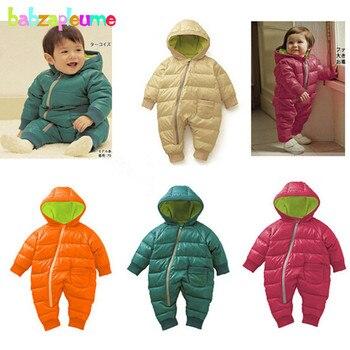 0-18Months/зима новорожденных комбинезон унисекс детский зимний комбинезон одежда для маленьких мальчиков и девочек с капюшоном теплый толстый...