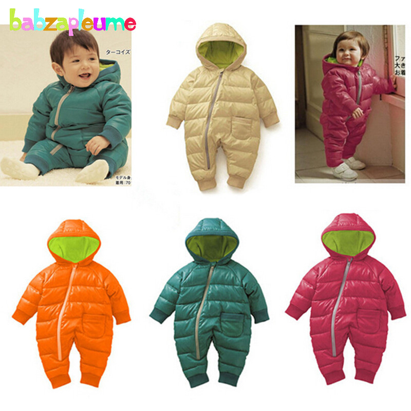 0-18Months/Winter Newborn Rompers Unisex Snowsuit Baby Girls Boys Clothing Hooded Warm Thick Infant Jumpsuit Kids Clothes BC1351