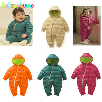 0-18Months/Winter Newborn Rompers Unisex Snowsuit Baby Girls Boys Clothing Hooded Warm Thick Infant Jumpsuit Kids Clothes BC1351 winter newborn rompers baby girls boys cotton infant hooded warm overalls clothes kids high quality cartoon jumpsuit outerwear