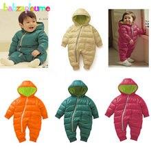 3465ee234 0-18months/invierno recién nacido Mamelucos unisex snowsuit bebé Niñas Moda  hombre grueso caliente encapuchado infantil jumpsuit.