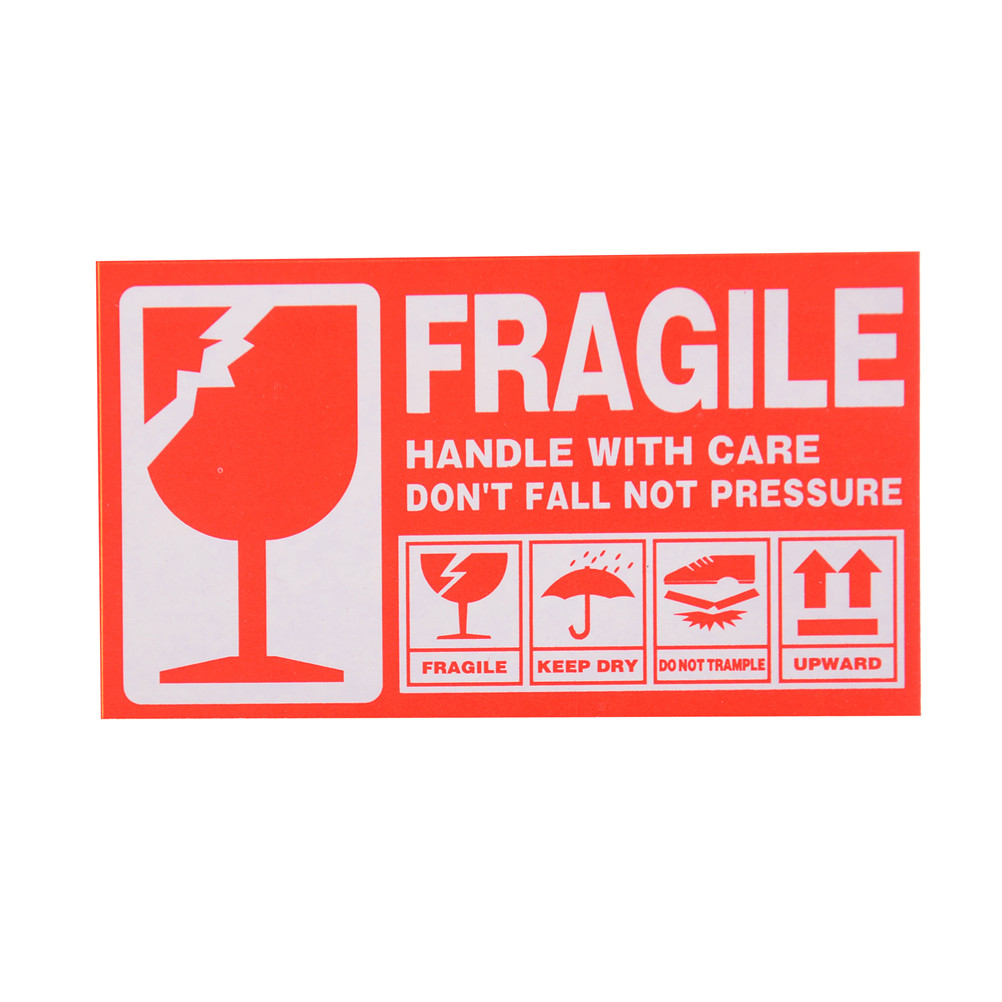 50pcs/lot Fragile Warning Label Sticker 9x5cm Fragile Sticker Up And Handle With Care Keep Dry Shipping Express Label Stickers