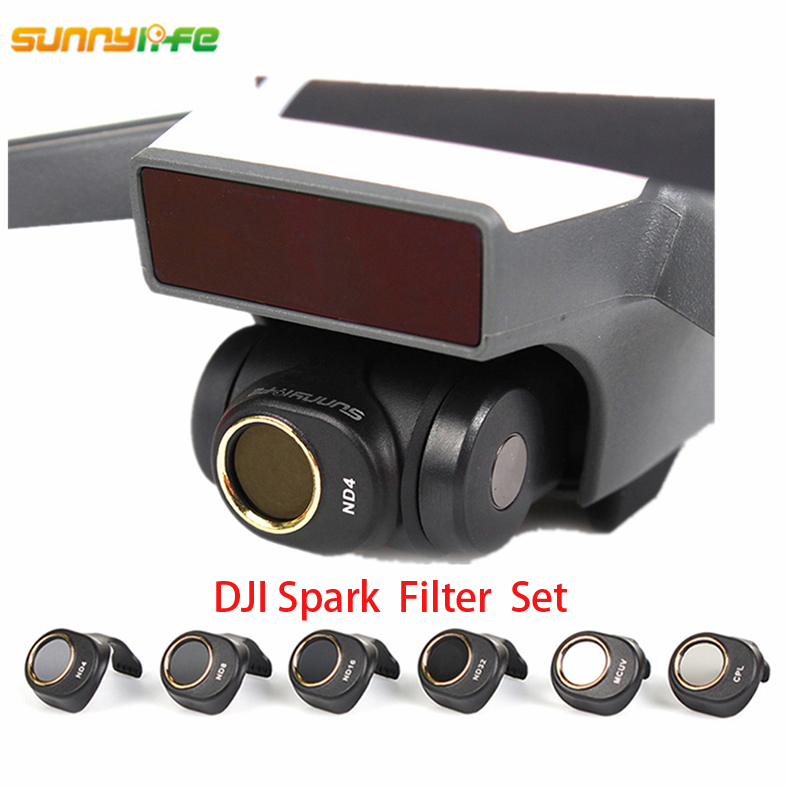 Sunnylife  Spark Gimbal Camera Lens Filter Combo  ND4 ND8 ND16 ND32 MCUV CPL For HD Clear Lens Filter For DJI Spark Drone