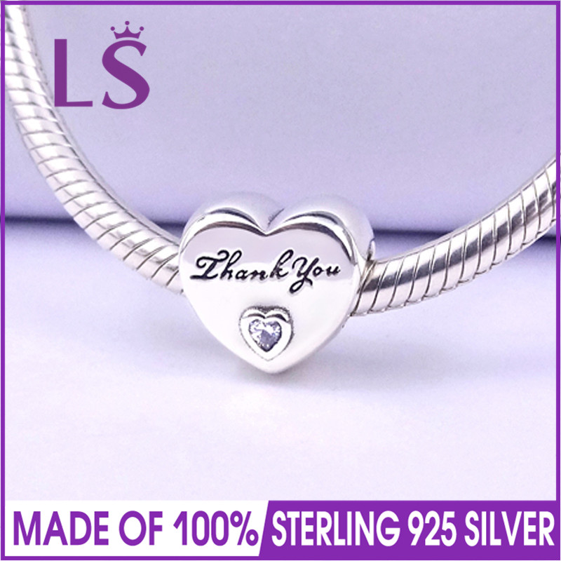 LS High Quality 925 Sterling Silver Thank You Charm Beads Fit Original Bracelets Pulseira Encantos.100% Fine Jewlery Retail W