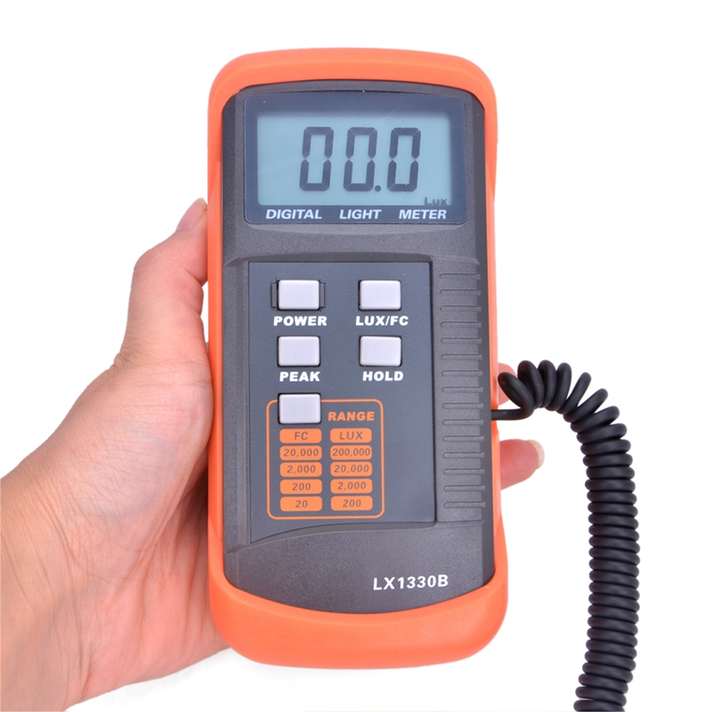 Professional Digital Lux Meter 0.1~200,000 Lux/FC LCD Light Meter Detect Light Intensity Precise Data Hold Peak Reading Hold new professional lx1010bs digital light meter 100000 handheld lux meter