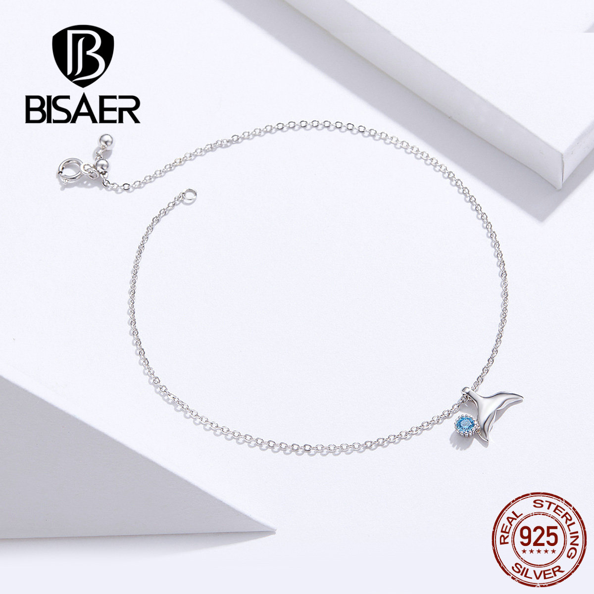 BISAER Mermaid Anklets 925 Sterling Silver Mermaid's Story Chain Silver Anklets for Women Sterling Silver Jewelry ECT004 3