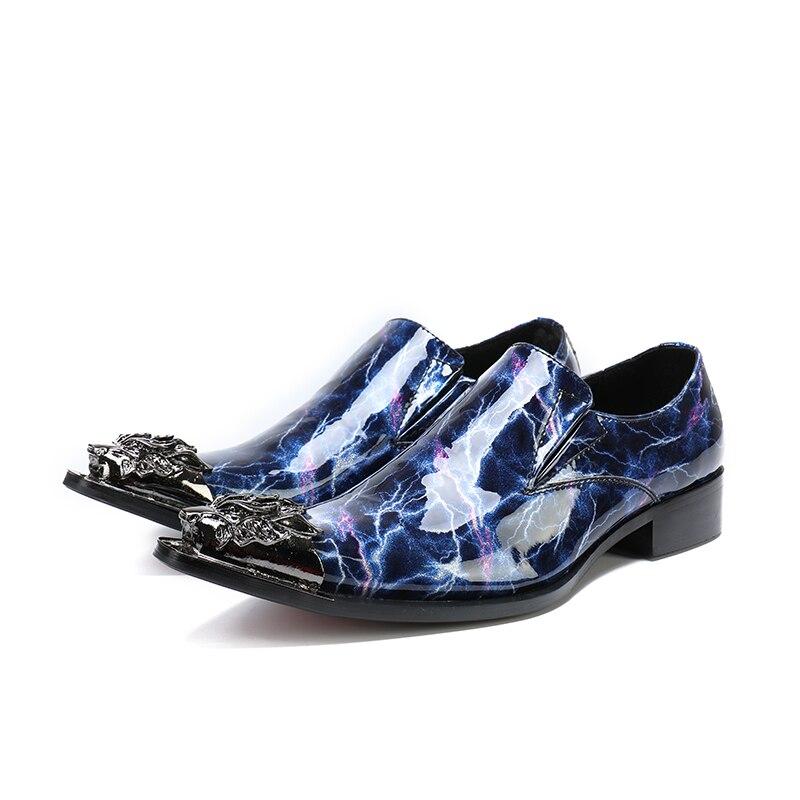 De Sapatos Mocassins Social Escondido Masculino Sapato Couro Fino Bico Homens Calcanhar Cravado Aço Italiano Mens Formal Azul RvfSwYq