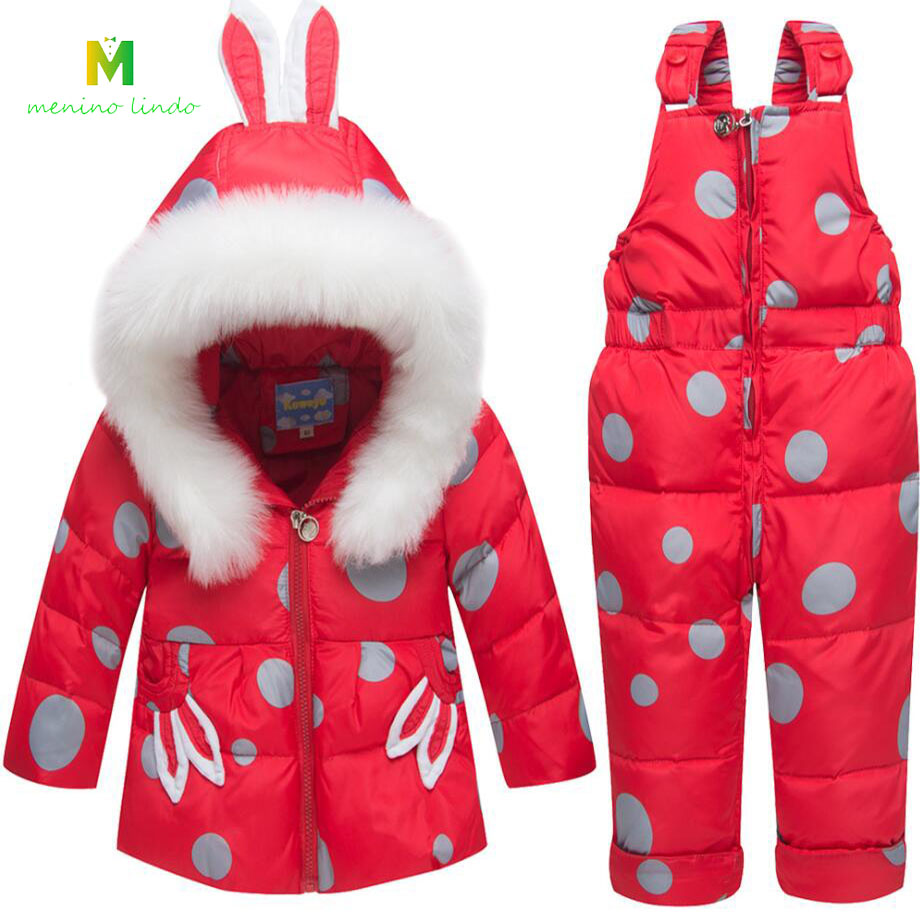 Bébé vêtements 0-3T infantile hiver vêtements chauds ensemble nouveau-né blanc canard doudoune + pantalon enfant en bas âge super chaud mignon manteau bébé pantalon