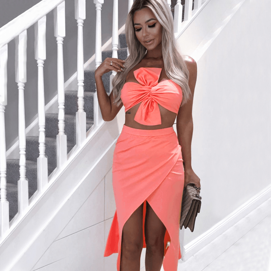 ADYCE Summer Bodycon Women Sets Vestidos Verano 2019 New 2 Two Pieces Sets Strapless Bow Clubwears