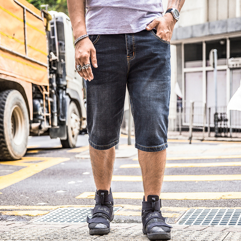f227b0a142f Big Size Short Plus Large 38 40 42 44 46 48 Summer Hot Bermuda Denim Capri  Breeches Knee Length 2018 Black Cargo Jean Short Male