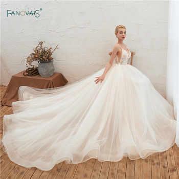 Elegant Wedding Dresses 2019 Straps V Neck Applique Beaded Wedding Gown Princess Ball Gown Bridal Dress Vestidos de Festa SW6 - DISCOUNT ITEM  31 OFF Weddings & Events