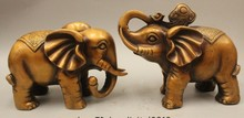 "8"" China Feng Shui Bronze Wealth Elephant Yuan Bao Ru Yi Auspicious Statue Pair(China)"