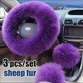 100% чистая шерсть крышки рулевого колеса зима шерсть наборы длинноволосый женщина кожаное рулевое колесо крышка наборы
