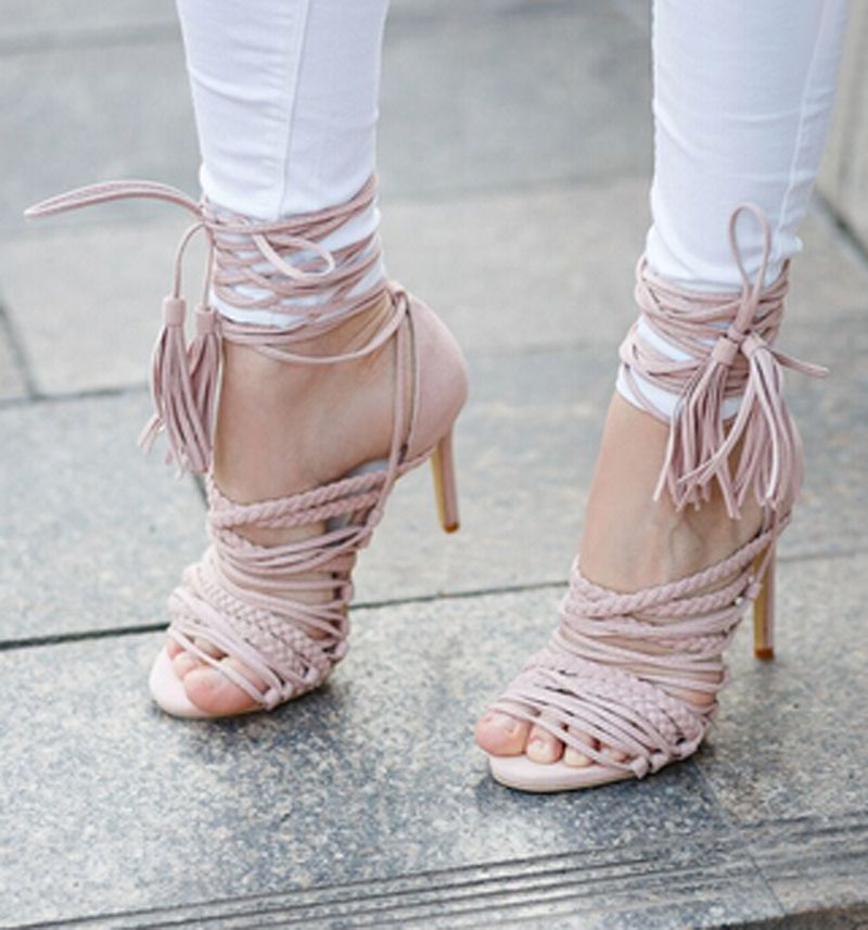 Hot selling summer ankle strap women gladiator sandals lace up opening strappy sandal boots tassel high heels woman dress shoes
