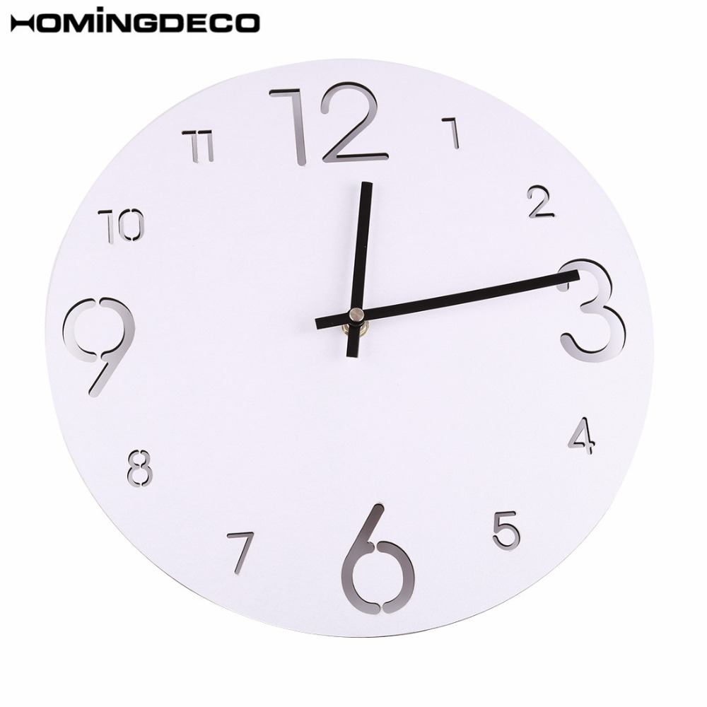 1Pcs European Style Round Wall Clock Non-Ticking Slient Livingroom Wall Clocks Hanging Clock Home Decor - White