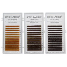 SONG LASHES  High Quality Eyelash Extensions False lashes 12 lines per tray brown eyelashes