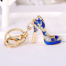 Exquisite red flower high heels keychain enamel crystal key ring for women purse bag pendant car keys accessories chaveiro S35