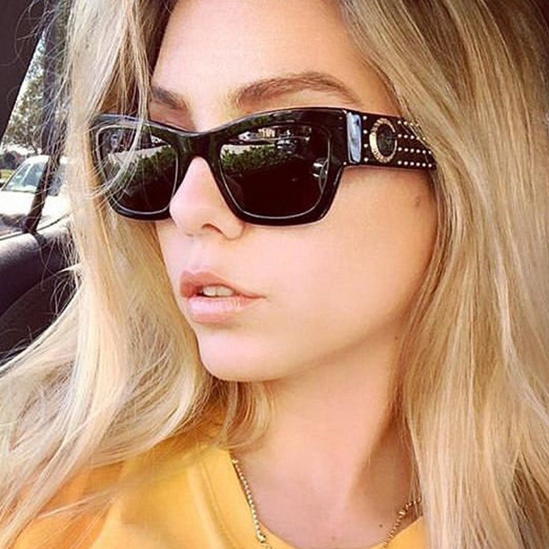 PAWXFB Brand Design Luxury Rivet Frame Women Sunglasses New Fashion Sunglasses For Female Square Black Eyewear 2019 Shades Oculo in Women 39 s Sunglasses from Apparel Accessories