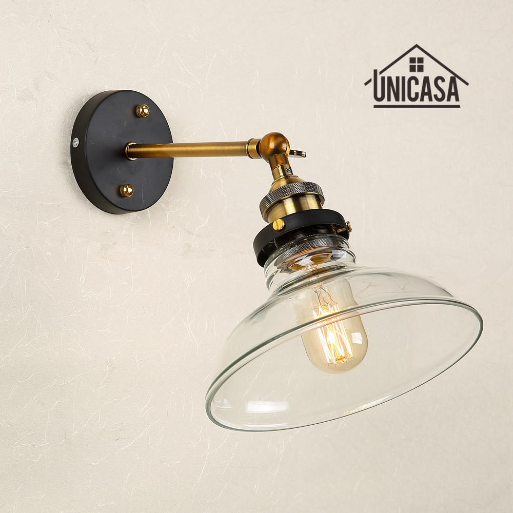 Us 45 85 48 Off Clear Glass Wall Lights Kitchen Lobby Bathroom Antique Wall Sconces Industrial Lighting Modern Indoor Swing Shade Led Wall Lamp In