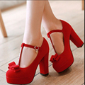 Small high-heeled wedding shoes red 31 32 female shoes 33 plus size bridal shoes 40 - 41 - 43 platform thick heel single shoes