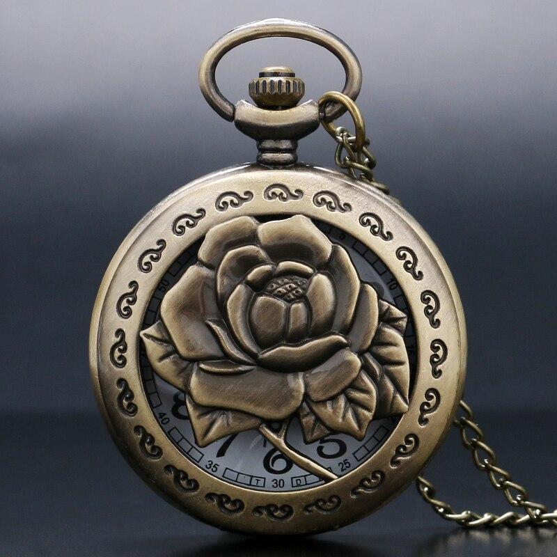 3D Rose Necklace For Women Lady Girlfriend Gifts Hollow Vivid Engraved Flower Nurse Quartz Pocket Watch Antique Pendant Chain