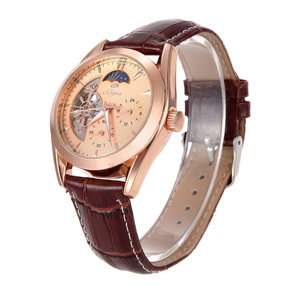 Jijia Male Tourbillon Auto Mechanical Watch Moon Phase Luminous Working Sub-dial Wristwatch G8121 Rose gold angie st7194 fearless series male auto mechanical watch