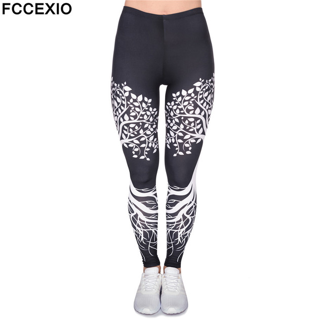d7dffbd11be0d6 FCCEXIO High Quality Women Leggings Tree with Black Roots Printed Legging  Fashion High Waist Woman Pants