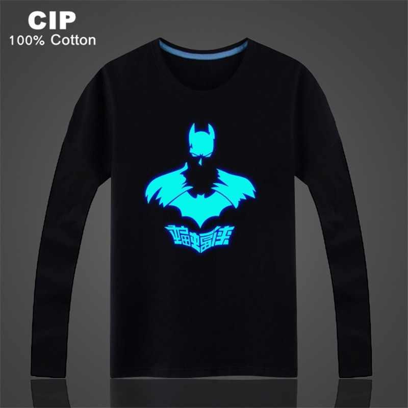 4eb9b02398ef0 Новые поступления Бэтмен футболка с длинным рукавом для мужчин/wo для  мужчин светится в темноте