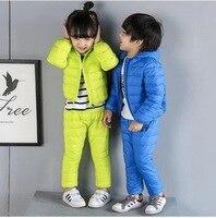 ילדי חורף Hoody למטה ז 'קט + מכנסיים סט בגדי ילדי חליפת סטי בגדי בני בנות ילדים חמים בגדי שלג עמיד למים