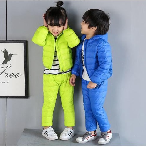 Children Clothing Set Winter Kids Hoody Down Jacket + Trousers Boys Girls Clothing Sets Waterproof Snow Warm Kids Clothes Suit children set boys girls clothing sets winter hooded down jackets trousers waterproof thick warm tracksuts kids clothing sets hot