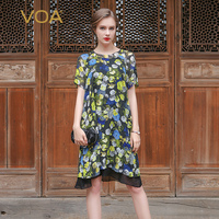 VOA 2017 Summer Fashion Fake Two Piece Silk Floral Print T Shirt Plus Size Short Sleeve O neck Loose Casual Women Tops B7062
