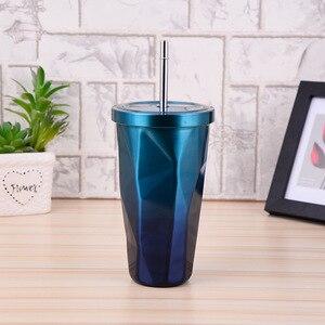 ZOOOBE 480 мл красочная двойная нержавеющая сталь с соломенной крышкой изоляция креативная туристическая бутылка для кемпинга кофе бутылка для...