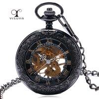 Half Hunter Elegant Glass Black Retro Roman Number Skeleton Dial Steampunk Mechanical Fob Pocket Watch With
