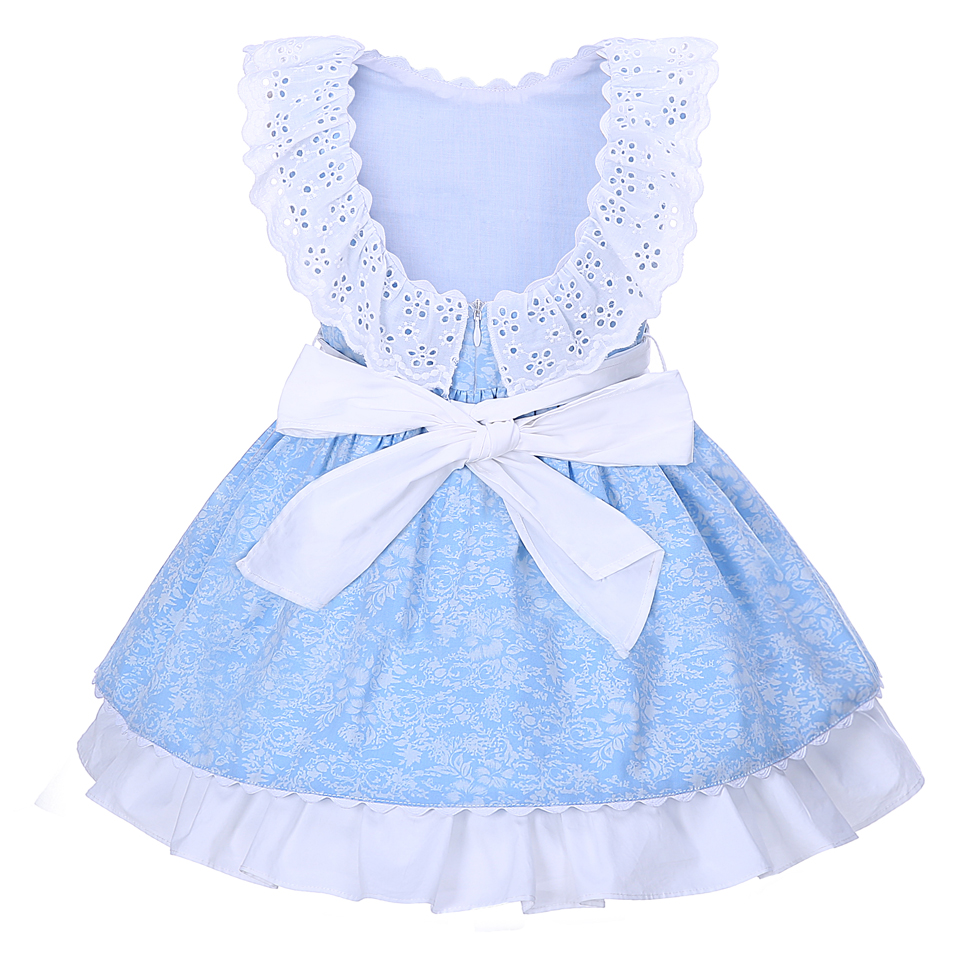 Pettigirl Girls Flower Dresses Summer Blue Kids Dress With Headband Girl Lace Collar Boutique Kids Clothing G-DMGD001-1294