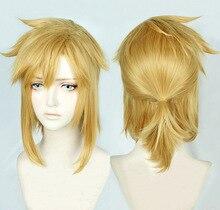 A lenda de zelda: respiração do elo selvagem curto golden pony tail resistente ao calor do cabelo cosplay peruca traje + peruca livre
