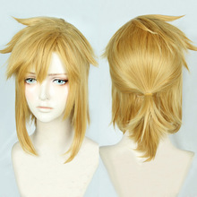 The Legend of Zelda: Breath of the Wild Link Short Golden Pony tail Heat Resistant Hair Cos
