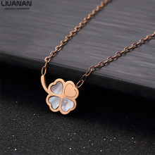 Lucky Clover Necklace for Women Pendants & Necklaces Collar Choker with Shell Inlay Stainless Steel Jewelry Accessories