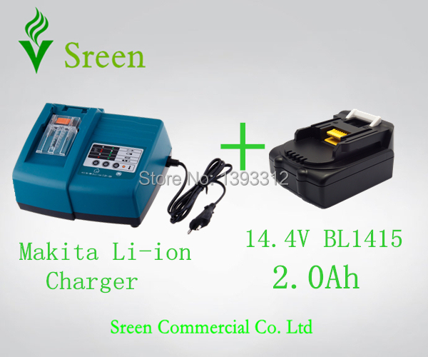 New Power Tool Battery Charger with 14.4V BL1415 Lithium Ion 2000mAh Replacement for Makita Battery Packs Universal LXT200 replacement li ion battery charger power tools lithium ion battery charger for milwaukee m12 m18 electric screwdriver ac110 230v