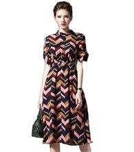 Spring Elegant short-sleeved dress   Design high quality women's fashion Long paragraph Stripe dress Casual large size women