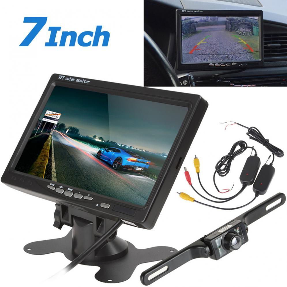 7 pouces TFT LCD voiture appuie-tête moniteur + 420TVL 135 degrés plaque d'immatriculation voiture vue arrière caméra + récepteur émetteur sans fil
