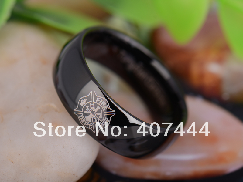 free shipping ygk jewelry hot sales 8mm black dome firefighter fireman lord ring tungsten carbide wedding - Firefighter Wedding Rings