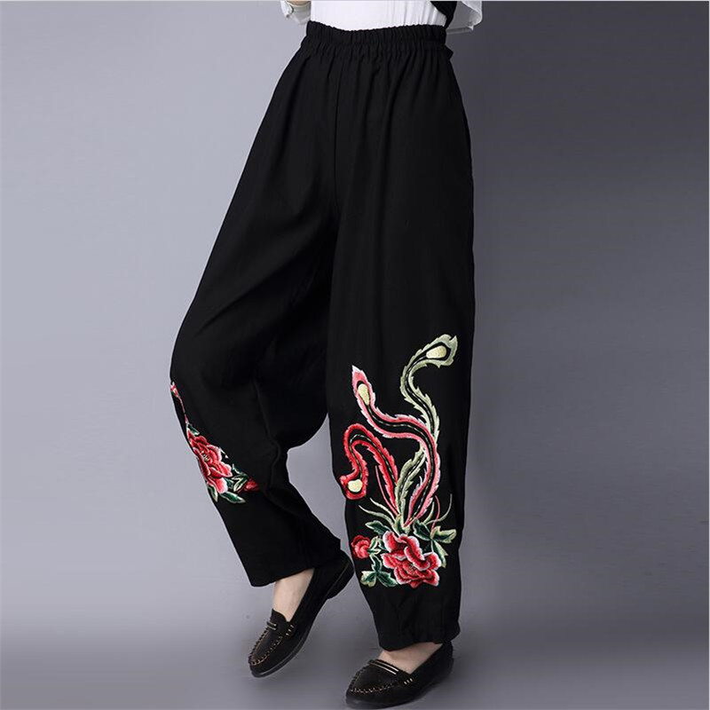 Chinese Style 2018 women spring cotton and linen full   pants   casual loose floral embroidery high elastic waist   wide     leg     pants